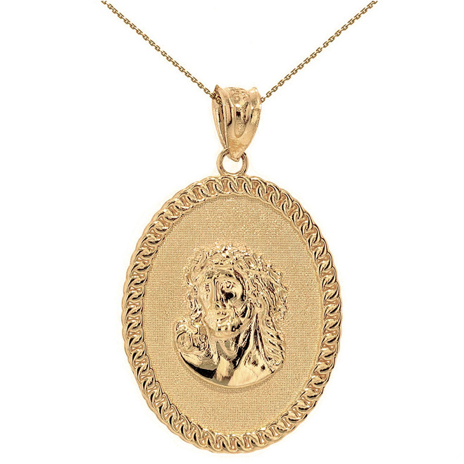 "Solid Yellow Gold Jesus Christ the Lord Cuban Curb Link Frame Oval Medallion Pendant Necklace 1.27"" ( 32 mm)"