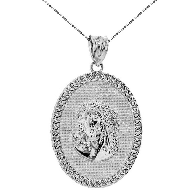 "Sterling Silver Jesus Christ the Lord Cuban Curb Link Frame Oval Medallion Pendant Necklace 1.27"" ( 32 mm)"