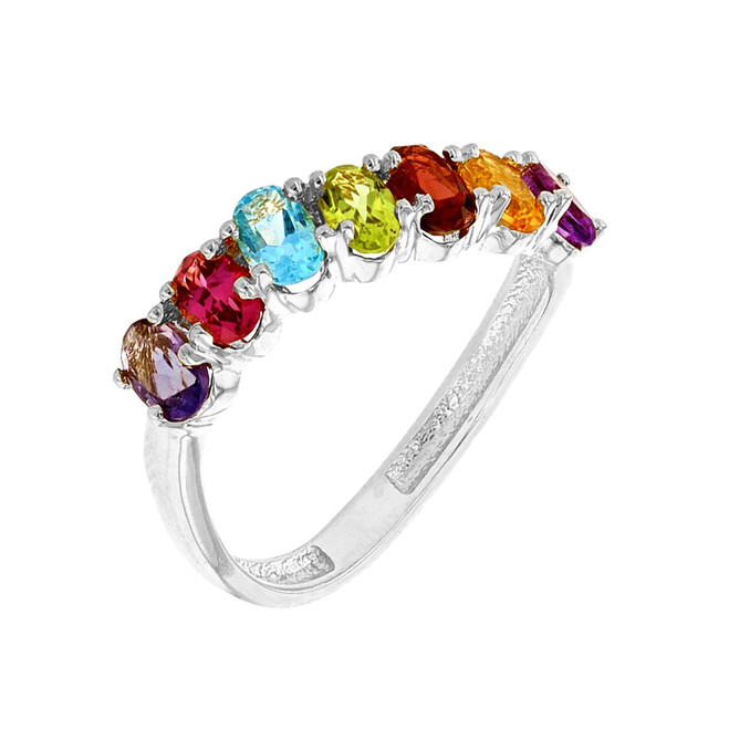 White Gold Wavy Stackable Multi-Colored Ring