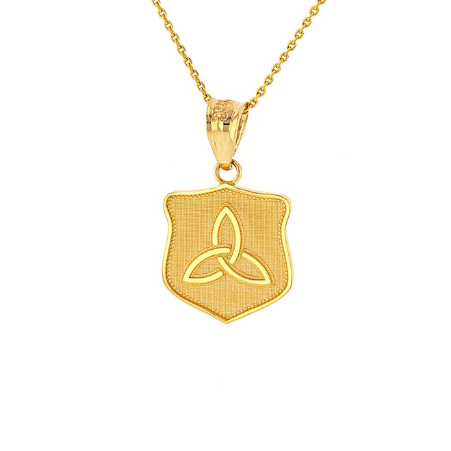 Solid Yellow Gold Trinity Shield Triquetra Celtic Knot Disc Medallion Pendant Necklace