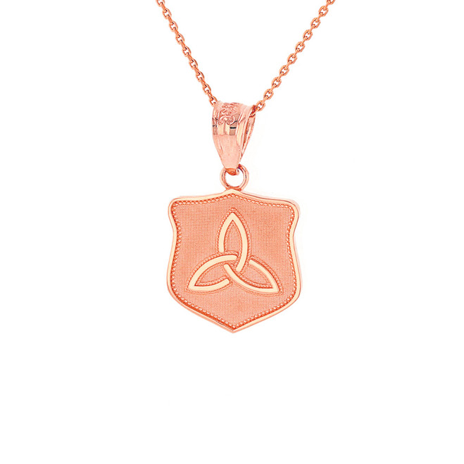 Solid Rose Gold Trinity Shield Triquetra Celtic Knot Disc Medallion Pendant Necklace