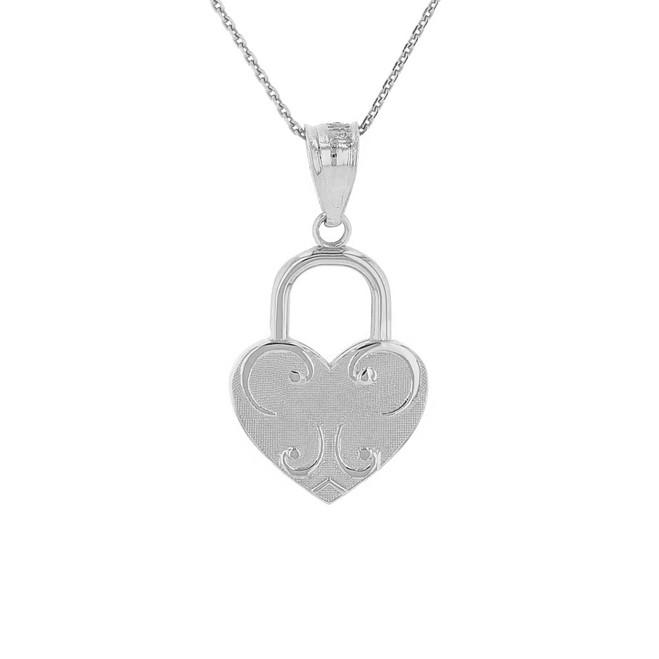 Sterling Silver Swirl Heart Padlock Pendant Necklace