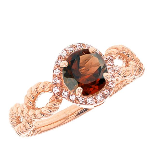 Rose Gold Infinity Rope Diamond  Genuine Garnet Engagement Ring
