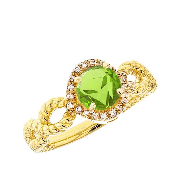 Yellow Gold Infinity Rope Diamond Genuine Peridot Engagement Ring