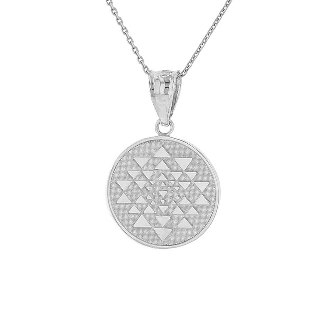 Sterling Silver Yantra Tantric Indian Yoga Disc Circle Pendant Necklace