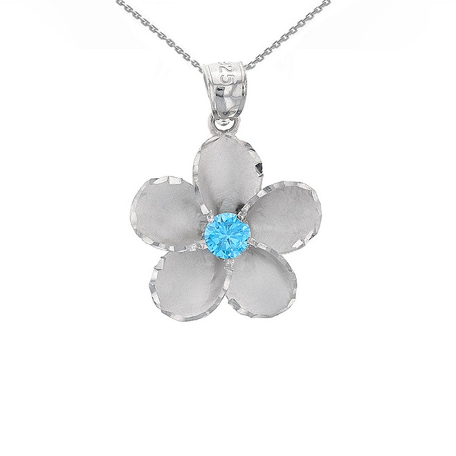 Sterling Silver Hawaiian Plumeria Blue CZ Pendant Necklace