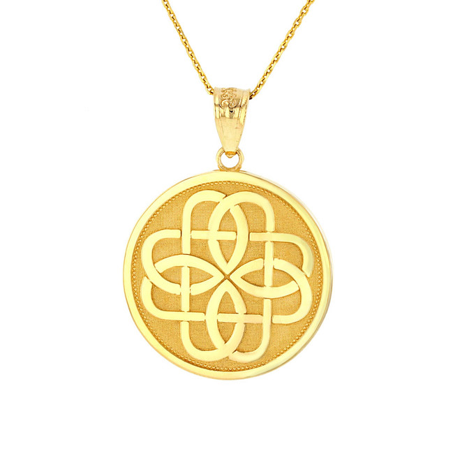 Solid Yellow Gold Celtic Knot Flower Medallion Pendant Necklace