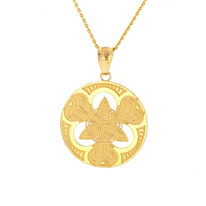 Solid Yellow Gold Triquetra Circle Trinity Knot Irish Pendant Necklace