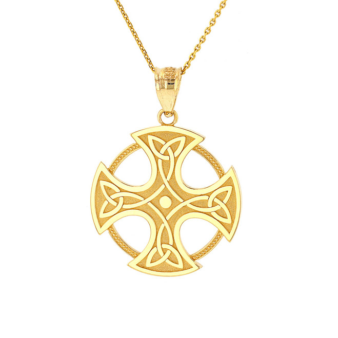Solid Yellow Gold Trinity Knot Celtic Cross Pendant Necklace