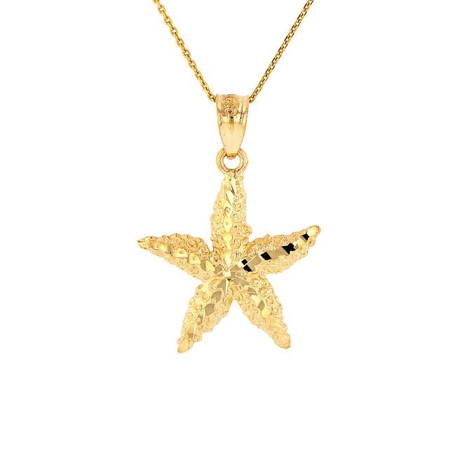 Solid Yellow Gold Diamond Cut Starfish Sea Star Pendant Necklace