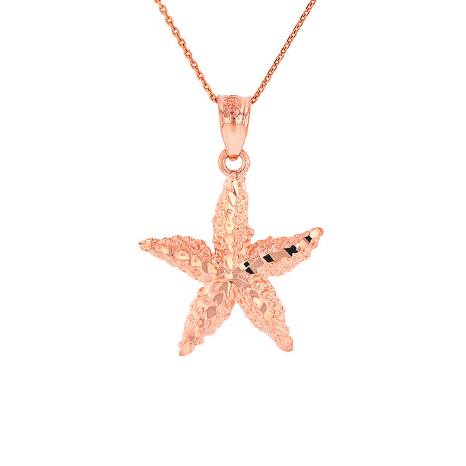 Solid Rose Gold Diamond Cut Starfish Sea Star Pendant Necklace