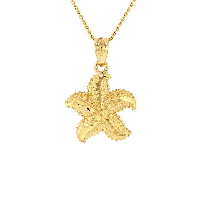 Solid Yellow Gold Diamond Cut Ocean Starfish Pendant Necklace