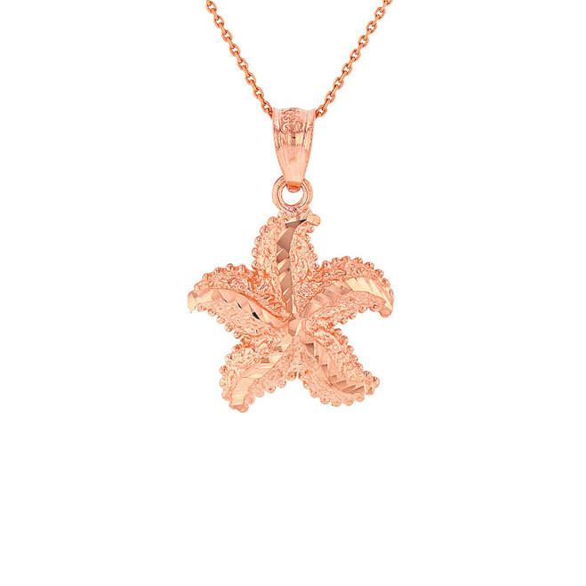 Solid Rose Gold Diamond Cut Ocean Starfish Pendant Necklace