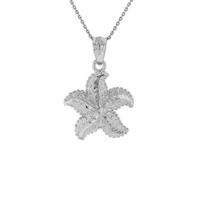 Solid White Gold Diamond Cut Ocean Starfish Pendant Necklace
