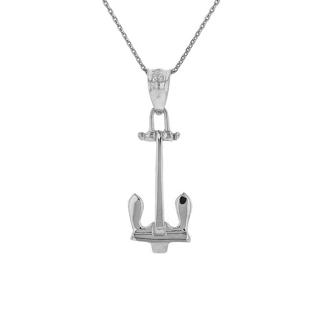Solid White Gold U.S Navy Stockless Anchor Pendant Necklace