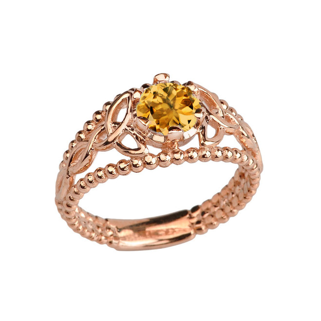 Rose Gold Genuine Citrine Beaded Celtic Trinity Knot Engagement/Promise Ring