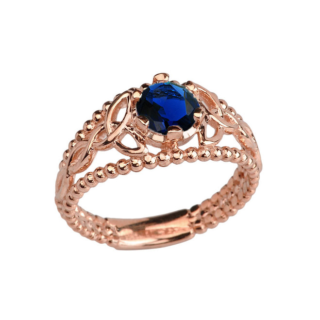Rose Gold Lab Created Sapphire Beaded Celtic Trinity Knot Engagement/Promise Ring
