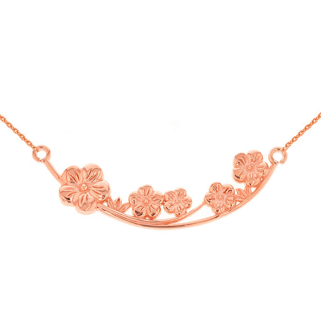 14K Solid Rose Gold Flower Branch  Plum Blossoms Sideways Pendant Necklace
