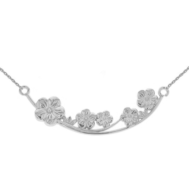 14K Solid White Gold Flower Branch  Plum Blossoms Sideways Pendant Necklace