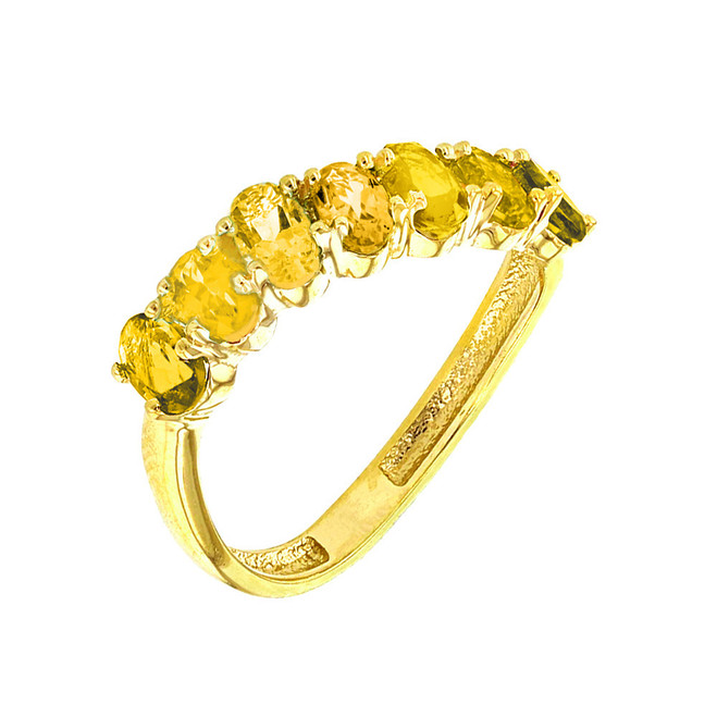 Yellow Gold Wavy Stackable Citrine Ring