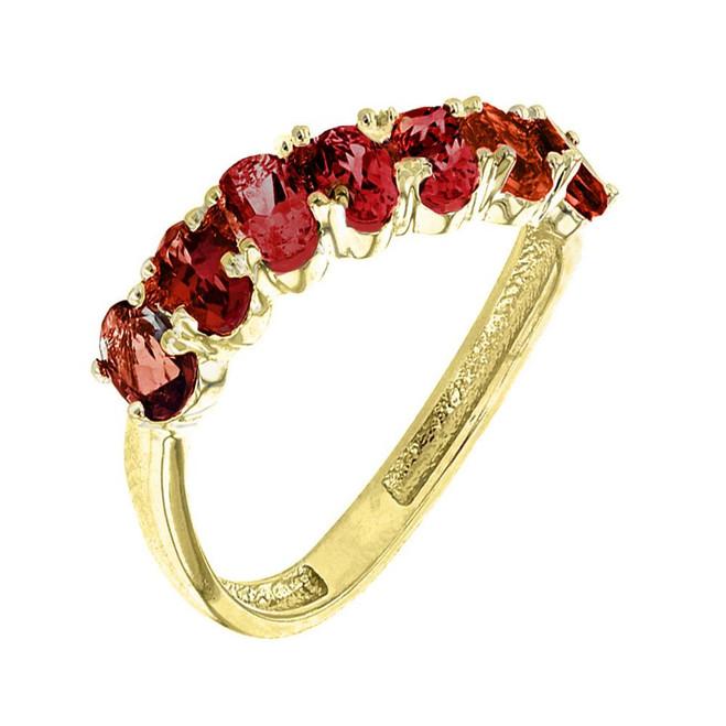 Yellow Gold Wavy Stackable Garnet Ring