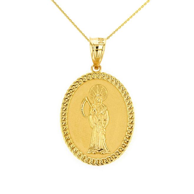 "Solid Yellow Gold Santa Muerte Cuban Link Frame Medallion Pendant Necklace 1.28"" (  32 mm)"