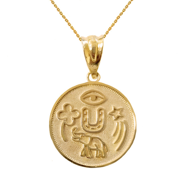 Solid Yellow Gold  Lucky Charms Amulet Good Luck Disc Medallion Pendant Necklace