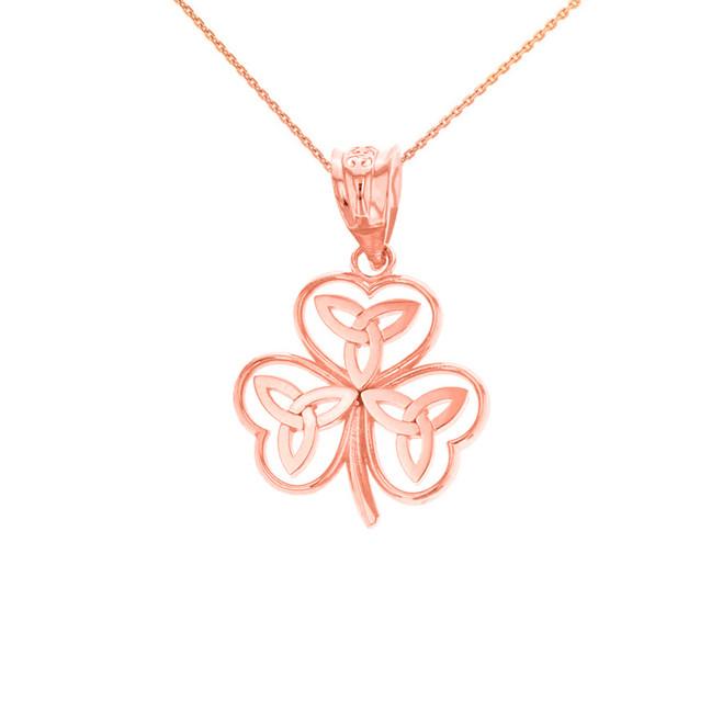Solid Rose Gold Celtic Trinity Knot Shamrock Pendant Necklace