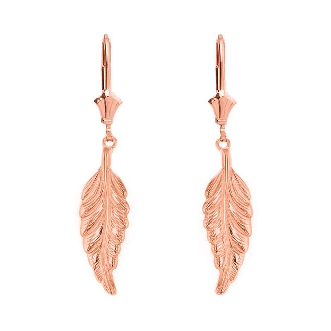 14K  Solid Rose Gold Bohemia Boho Feather Drop Earring Set