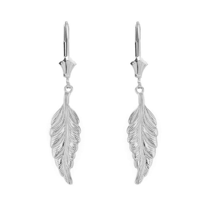Sterling Silver Bohemia Boho Feather Drop Earring Set