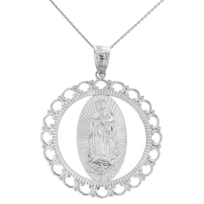 "Solid White Gold Scalloped Edge Frame Openwork Our Lady of Guadalupe Pendant Necklace 1.59"" (40 mm)"