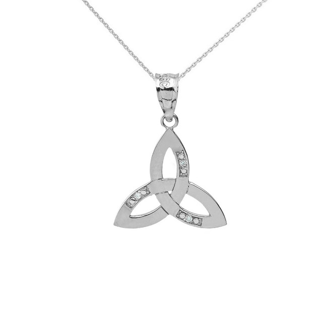 Solid White Gold Diamond Celtic Trinity Knot Pendant Necklace