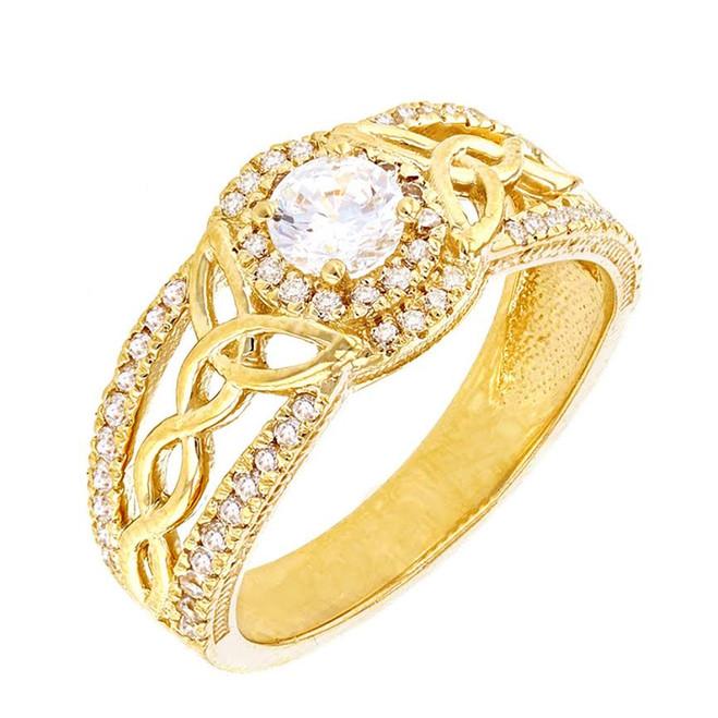 Yellow Gold Diamond Ring with Lab Created Diamond Center Stone
