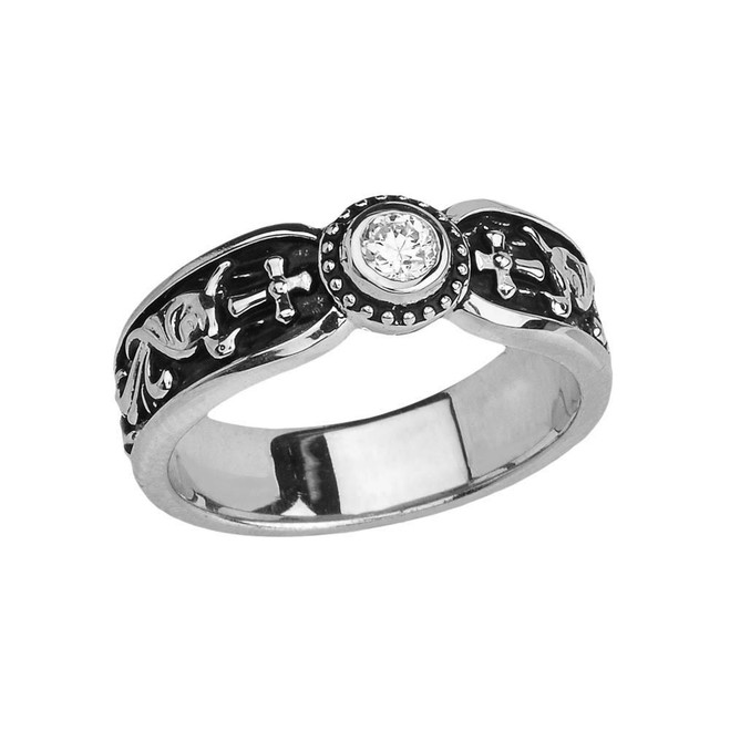 Sterling Silver Side Way Cross Vintage Solitaire Wedding Band/Ring