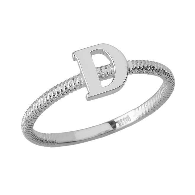 Solid White Gold Alphabet Initial Letter D Stackable Ring