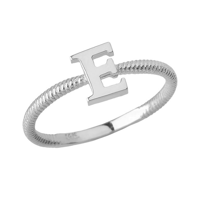 Solid White Gold Alphabet Initial Letter E Stackable Ring
