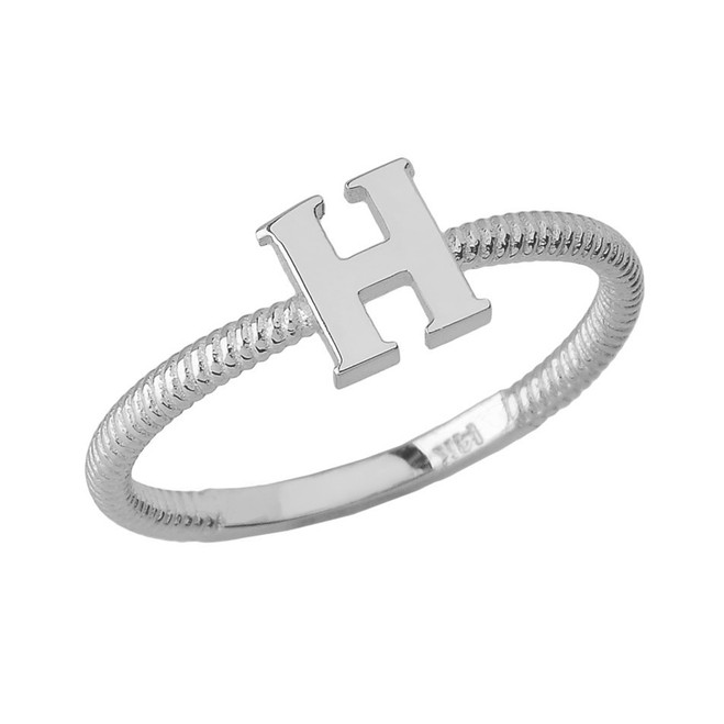 Sterling Silver Alphabet Initial Letter H Stackable Ring