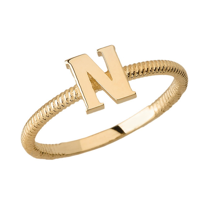 Solid Yellow Gold Alphabet Initial Letter N Stackable Ring