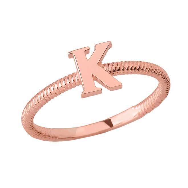 Solid Rose Gold Alphabet Initial Letter K Stackable Ring