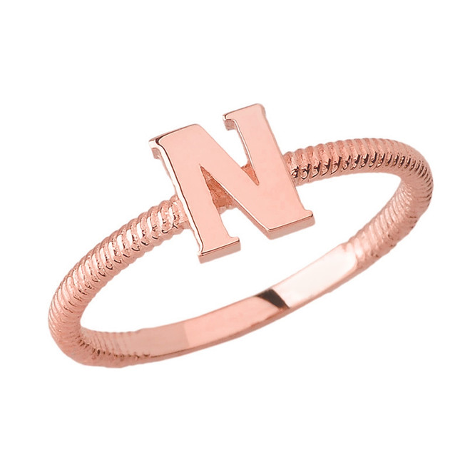Solid Rose Gold Alphabet Initial Letter N Stackable Ring