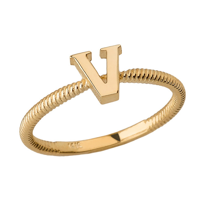 Solid Yellow Gold Alphabet Initial Letter V Stackable Ring