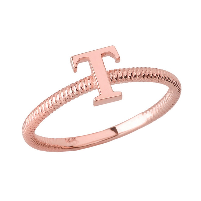 Solid Rose Gold Alphabet Initial Letter T  Stackable Ring