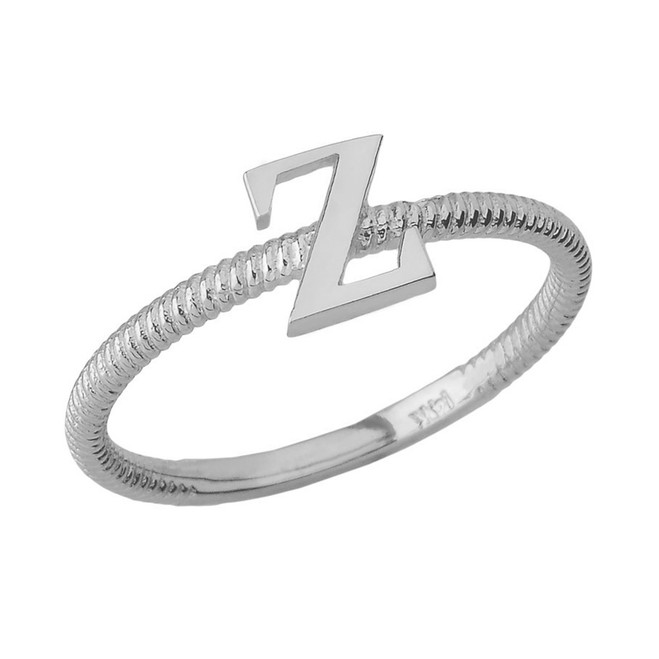 Sterling Silver Alphabet Initial Letter Z Stackable Ring