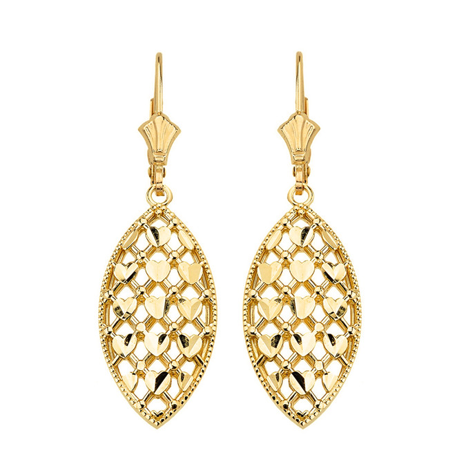 14K Solid Yellow Gold Double Layered Woven Hearts Filigree Marquise Shape Drop Earring Set
