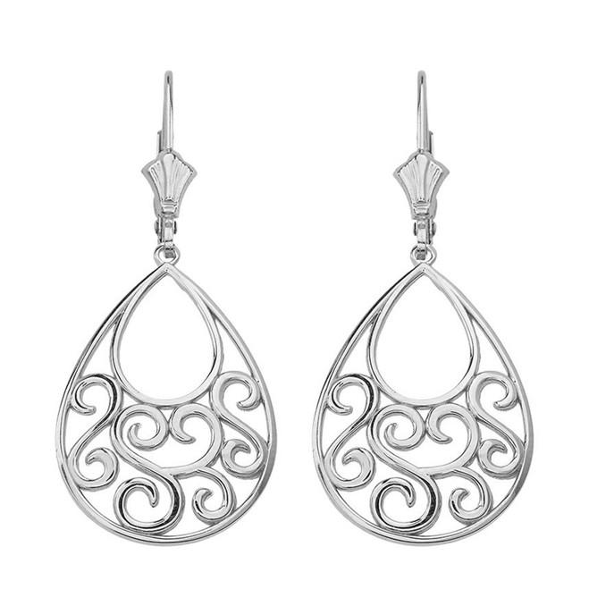 """14K Solid White Gold Filigree Teardrop Tree of Life  Heart Drop Earring Set 1.71"""" (43 mm)"""