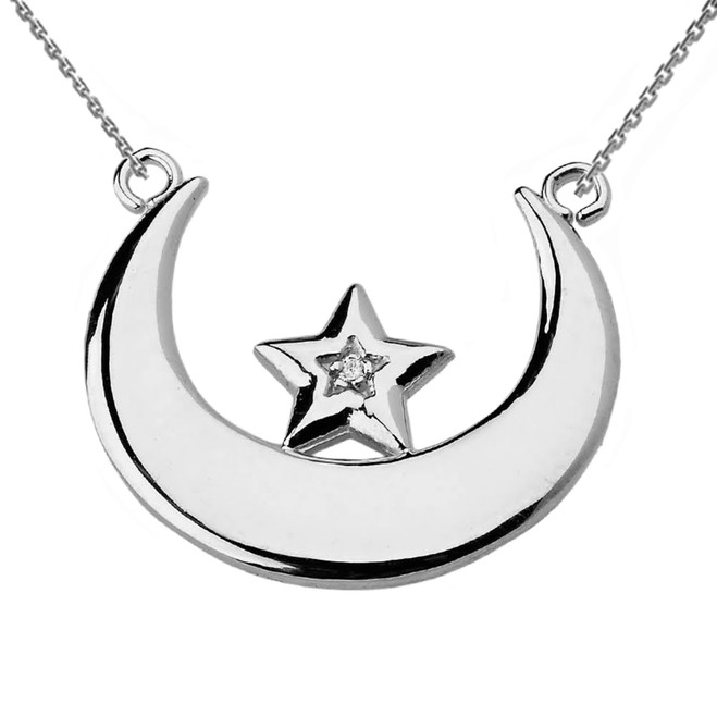 Sterling Silver Moon and Diamond Star Necklace