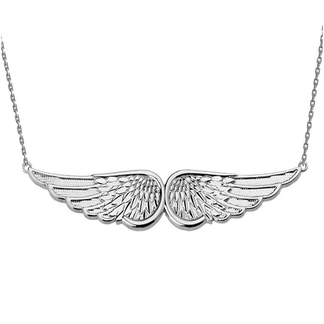 White Gold Angel Wings Necklace