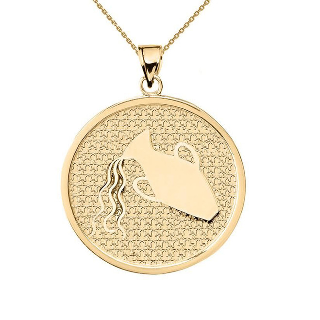 Yellow Gold Aquarius Zodiac Disc Pendant Necklace
