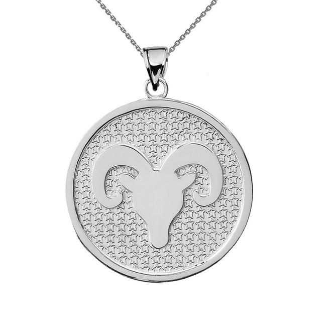 White Gold Aries Zodiac Disc Pendant Necklace
