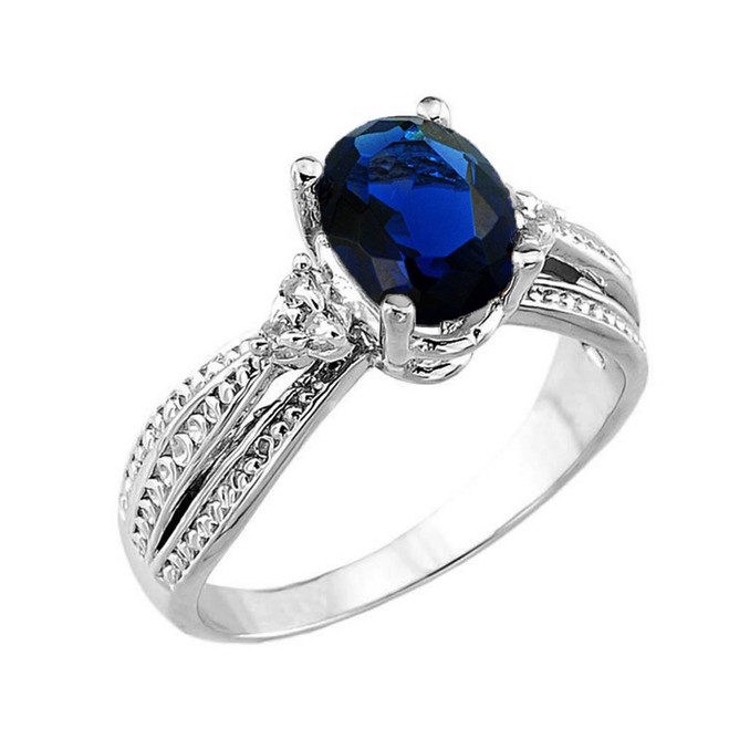 White Gold Genuine Sapphire and Diamond Engagement Proposal Ring